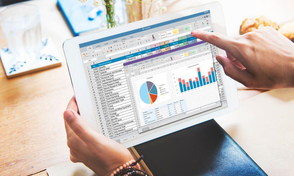 software de presupuesto empresarial en tableta
